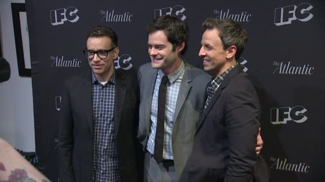 bill hader fred armisen and seth meyers at documentary now new york screening at new world stages on august 18 2015 in new york city - seth meyers stock videos and b-roll footage