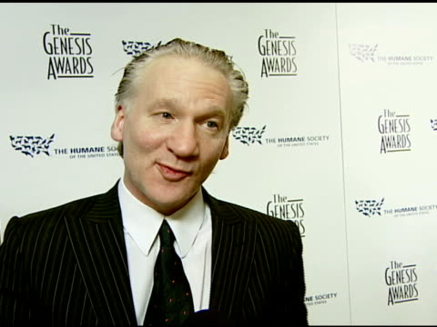 Bill Maher about the event and the effects of eating meat global warming the presidential candidates and animal rights at the 2008 Genesis Awards at...