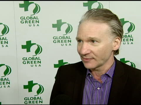 vídeos de stock, filmes e b-roll de bill maher on the connection between global warming and meat eating at the global green usa's 5th annual preoscar party at null in hollywood... - global green usa