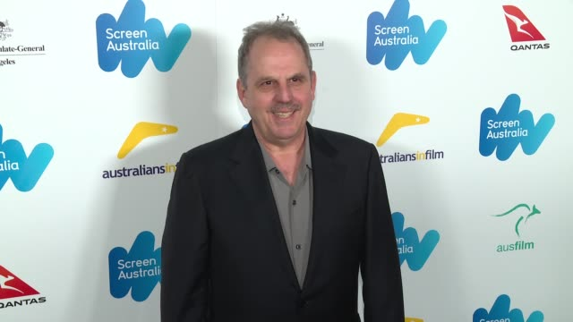 bill mechanic at the screen australia and australians in film host australian oscar nominees party at four seasons hotel los angeles at beverly hills... - oscar party stock-videos und b-roll-filmmaterial