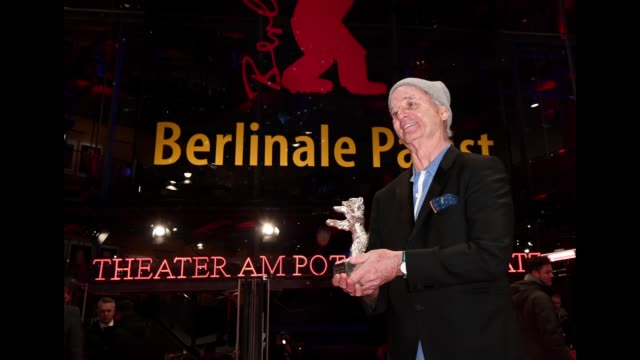Bill Murray accepting the award for Wes Anderson pose with the award after the closing ceremony during the 68th Berlinale International Film Festival...