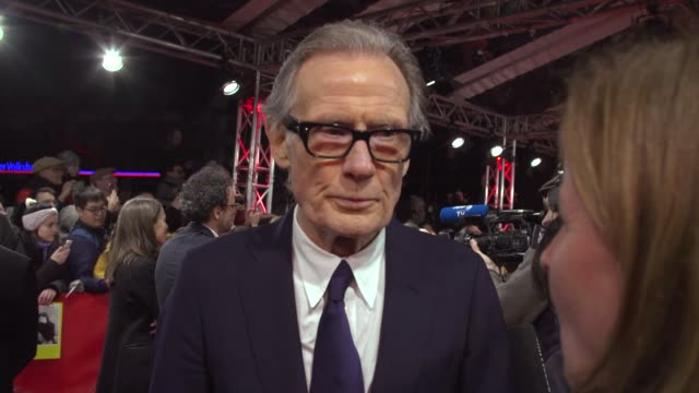 bill nighy actor on bringing a political film like 'minamata' to berlin and how johnny depp ensured the film was made at friedrichstadt palast on... - film festival stock videos & royalty-free footage