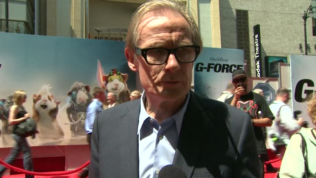 bill nighy on his role, appeal of the project, dueling with hostile appliances at the 'g-force' premiere at hollywood ca. - g force stock videos & royalty-free footage