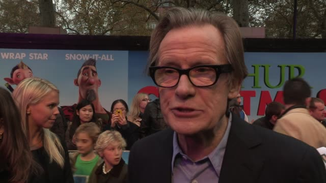bill nighy on how the film is different from other christmas tales at the arthur christmas world premiere at london england - other stock videos & royalty-free footage