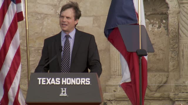 speech bill paxton on what significance the alamo holds at history® celebrates epic new miniseries texas rising with red carpet texas honors event at... - bill paxton stock videos and b-roll footage