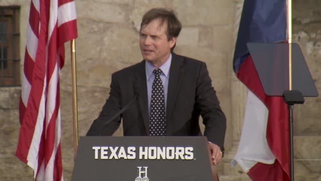 speech bill paxton presents marcus luttrell at history® celebrates epic new miniseries texas rising with red carpet texas honors event at the alamo... - bill paxton stock videos and b-roll footage