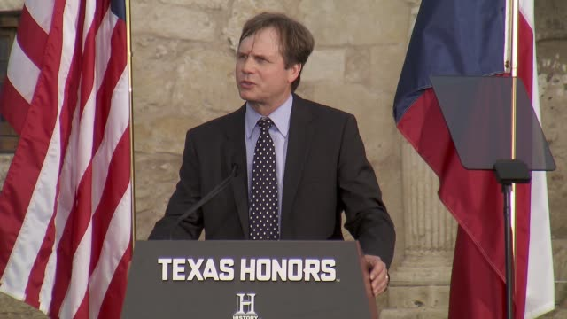 speech bill paxton presents shanna peeples at history® celebrates epic new miniseries texas rising with red carpet texas honors event at the alamo on... - bill paxton stock videos and b-roll footage