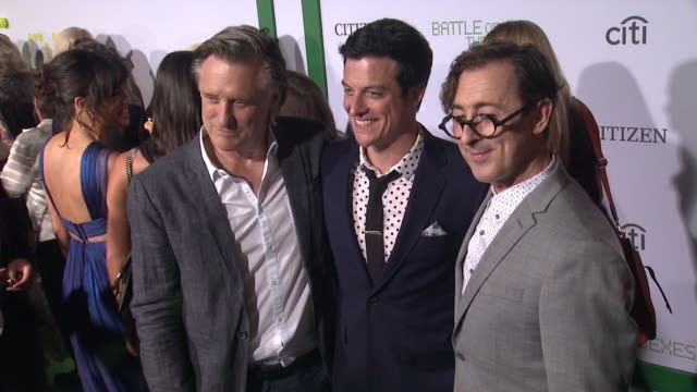 bill pullman james mackay and alan cumming at battle of the sexes los angeles premiere presented by fox searchlight at regency village theatre on... - regency village theater stock videos & royalty-free footage