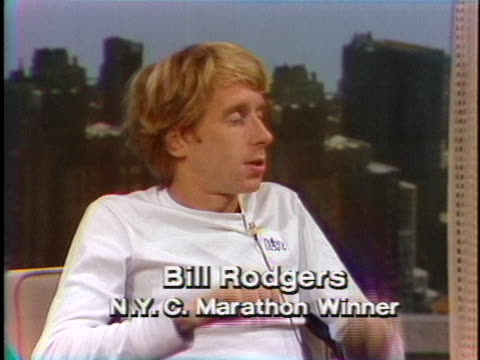 bill rodgers, 1979 nyc marathon men's division winner, is speaking about the start of the race during an interview with jane pauley on the today show. - track and field event stock videos & royalty-free footage