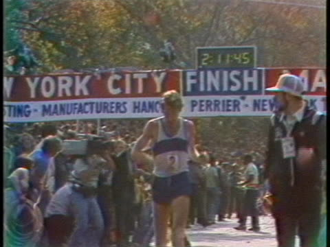bill rodgers, men's division winner of the new york city marathon, is crossing the finish line. - track and field event stock videos & royalty-free footage