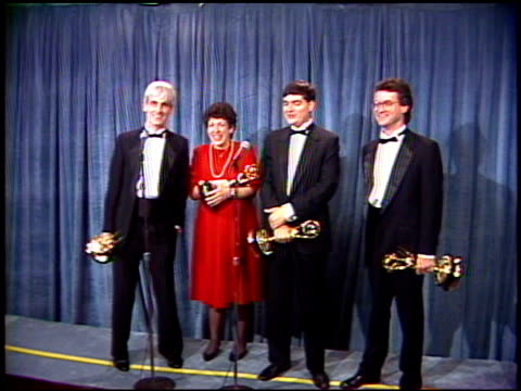 bill steinkellner at the 1989 emmy awards backstage at the pasadena civic auditorium in pasadena california on september 17 1989 - pasadena civic auditorium stock videos and b-roll footage