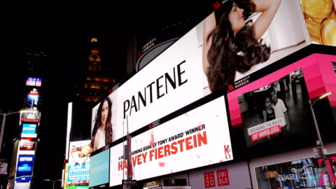 billboard advertisements, times square, new york city - advertisement stock videos & royalty-free footage