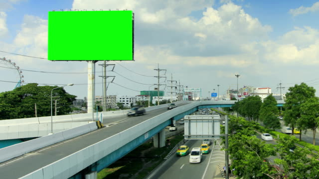 billboard and highway with moving cloud ,time lapse - major road stock videos & royalty-free footage