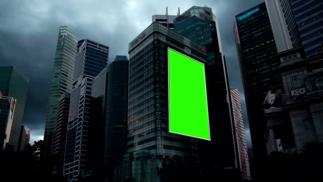 billboard chroma key and sky scraper - skyscraper stock videos & royalty-free footage