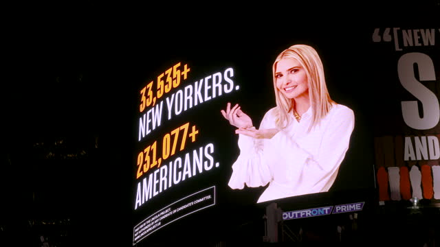 billboard of ivanka trump atop the abc - broadcasting company building in midtown manhattan's times square during the us presidential elections... - advertisement stock videos & royalty-free footage