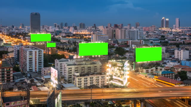 billboard on highway at dusk, green screen - commercial sign stock videos and b-roll footage