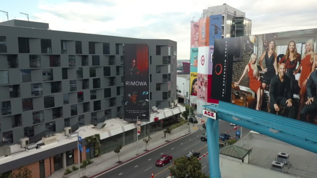 billboard on the sunset strip, los angeles-drone shot - {{ contactusnotification.cta }} stock videos & royalty-free footage