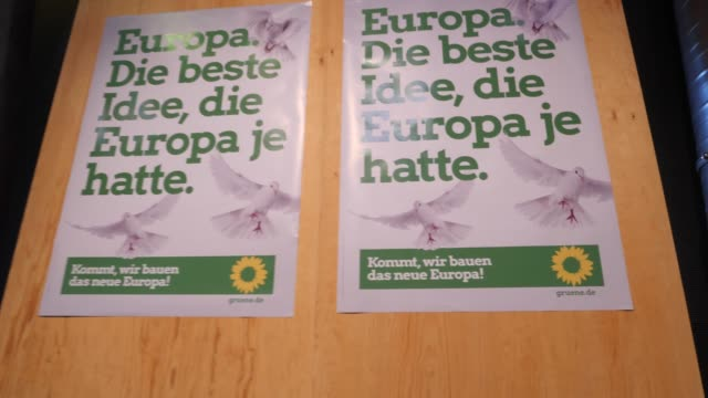 billboard with green party slogan for the campaign 2019 a greens party congress ahead of european elections on may 18 2019 in berlin germany... - green party stock videos and b-roll footage