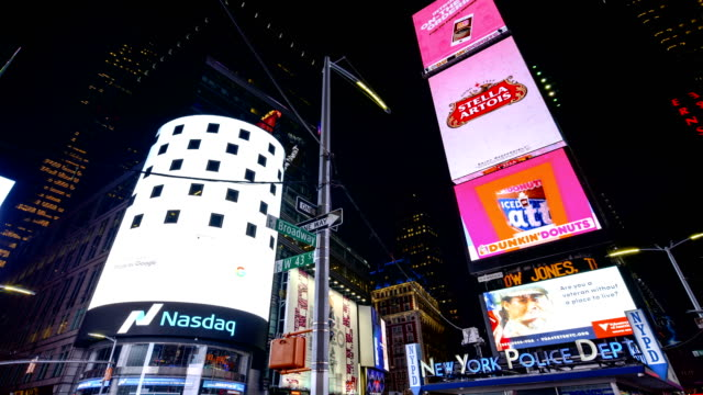times lapse, billboards advertisements, times square, nyc - advertisement stock videos & royalty-free footage