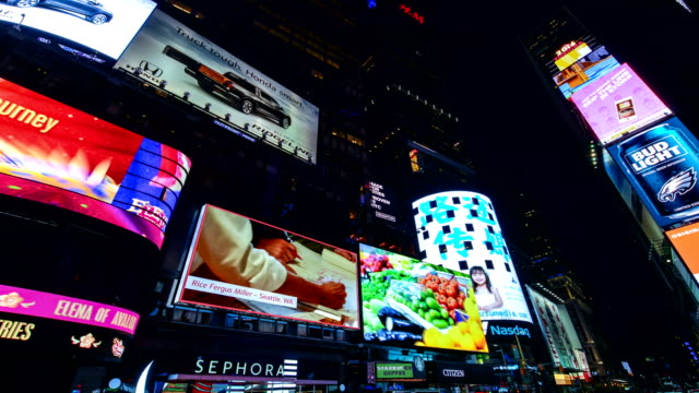 times lapse, billboards advertisements, times square, nyc - electronic billboard stock videos and b-roll footage