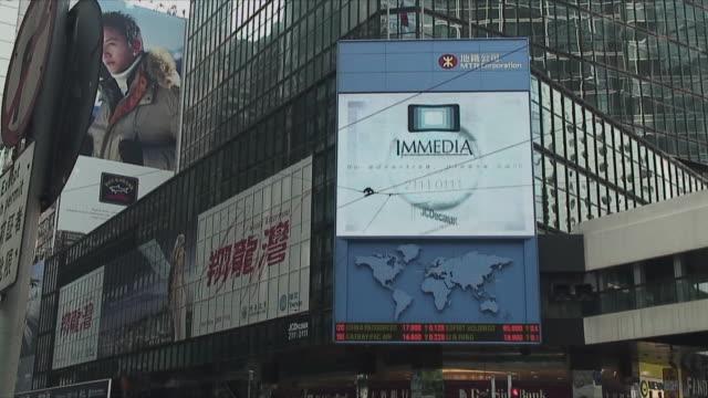 stockvideo's en b-roll-footage met ws la tu billboards and flashing screens in downtown, hong kong, china - hong kong