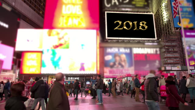 billboards happy holidays new year new york times square people - happy holidays stock videos & royalty-free footage