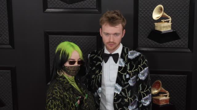 billie eilish and finneas o'connell at the 62nd annual grammy awards arrivals at staples center on january 26 2020 in los angeles california - billie eilish stock videos & royalty-free footage