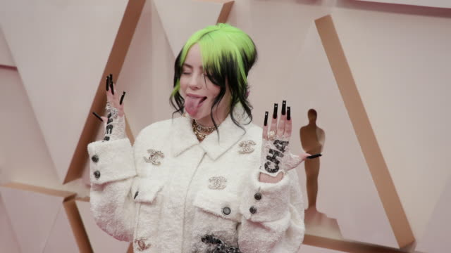 billie eilish at the 92nd annual academy awards - arrivals on february 09, 2020 in hollywood, california. - academy awards stock videos & royalty-free footage