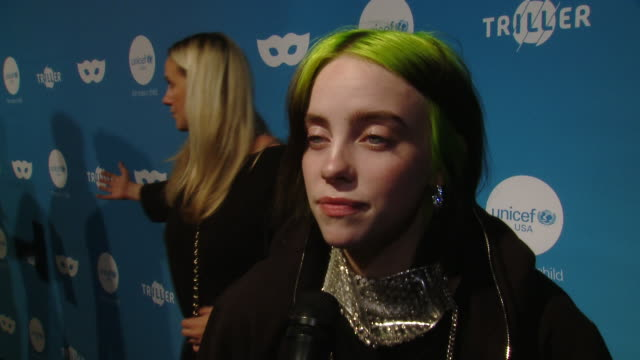 interview billie eilish on the event at the 7th annual unicef masquerade ball 2019 in los angeles ca - billie eilish stock videos & royalty-free footage