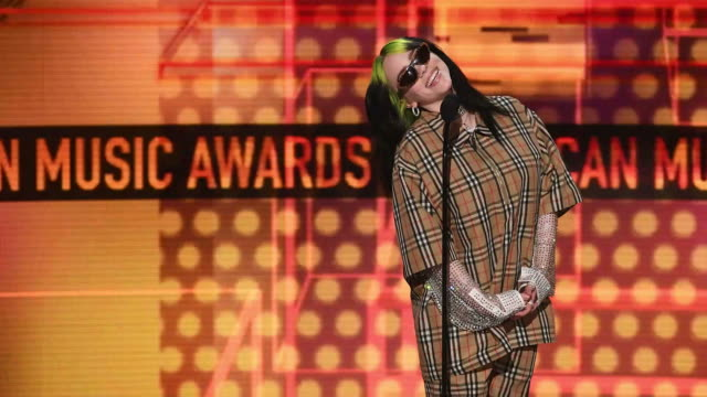 billie eilish speaks onstage during the 2019 american music awards at microsoft theater on november 24 2019 in los angeles california - american music awards stock videos & royalty-free footage