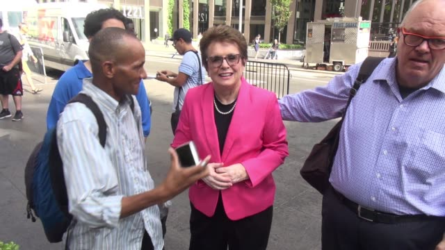 billie jean king arrives at fox news and signs for and poses for photos with fans at celebrity sightings in new york on september 09, 2015 in new... - billie jean king stock videos & royalty-free footage