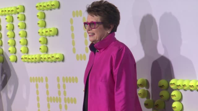 billie jean king at battle of the sexes los angeles premiere presented by fox searchlight at regency village theatre on september 16 2017 in westwood... - regency village theater stock videos & royalty-free footage