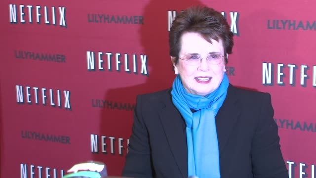 billie jean king at north american premiere of lilyhammer a netflix original series at crosby street hotel on 02/01/12 in new york - billie jean king stock videos & royalty-free footage