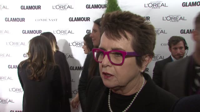 billie jean king discusses being honored with a woty award in the past, how excited she is to be back. on tonight's honorees. on what she's most... - ビリー・ジーン・キング点の映像素材/bロール