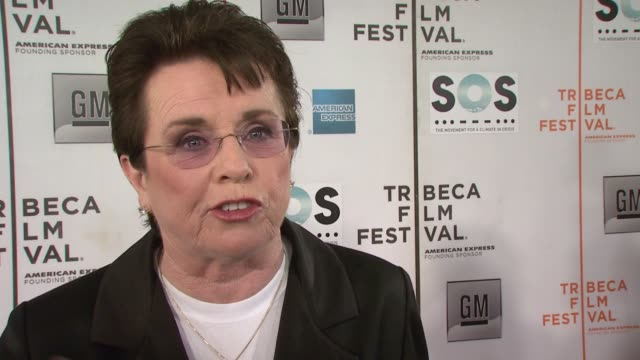 billie jean king on being an ambassador for the tribeca film festival and espn and being inspired personally and professionally to join the... - ビリー・ジーン・キング点の映像素材/bロール