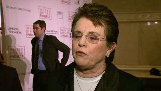 billie jean king on being honored tonight, what a lifetime achievement award really means, the 21st century being the century of the woman, the... - ビリー・ジーン・キング点の映像素材/bロール