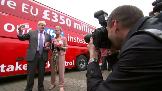 billion nhs boost to come mostly from taxes; pictures from itv west news r11051606 / cornwall: st austell brewery: ext 'vote leave' campaign bus... - brexit stock videos & royalty-free footage
