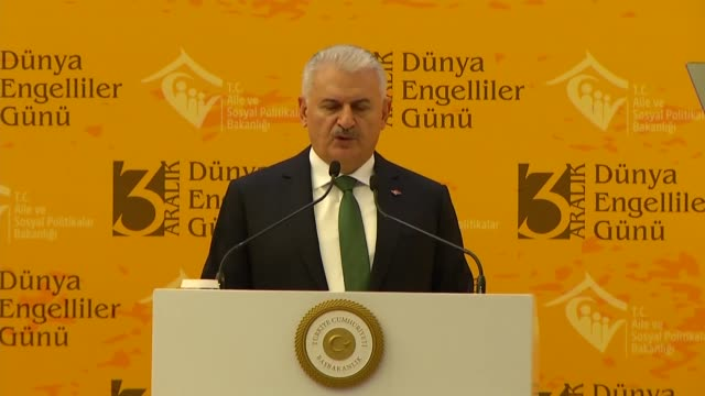 Turkish Prime Minister Binali Yildirim on December 03 2017 attends an event in Istanbul marking the International Day of Persons with Disabilities...