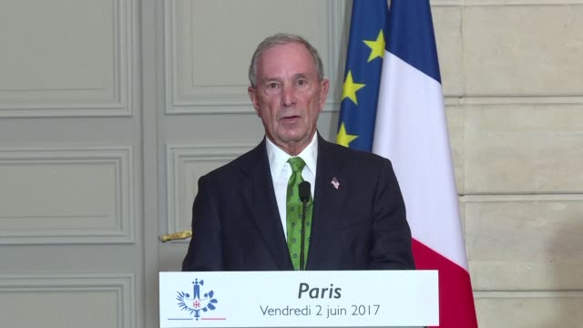 billionaire climate advocate michael bloomberg meets with french president emmanuel macron as the political and grassroots response to donald trump's... - paris agreement stock videos & royalty-free footage