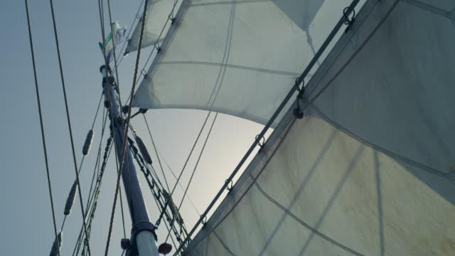 billowing sails and mast of tall ship, grenada - sail stock videos & royalty-free footage