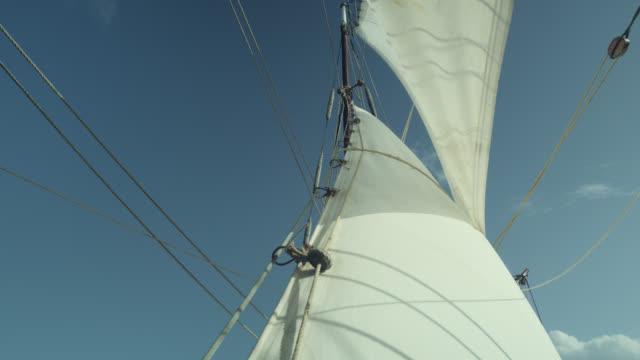 billowing sails of tall ship under sail, grenada - sail stock videos & royalty-free footage
