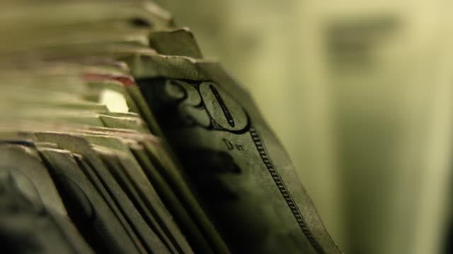 $20 bills in money counting machine - twenty us dollar note stock videos & royalty-free footage