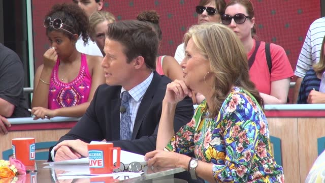 billy bush and meredith vieira on the 'access hollywood' show in celebrity sightings in new york, 6/11/2015 - meredith vieira stock videos & royalty-free footage