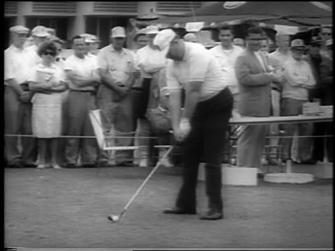billy casper in baseball hat teeing off at doralryder open / miami / newsreel - doral stock videos and b-roll footage