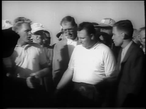 billy casper shaking hands with paul bondeson other man at doralryder open / newsreel - doral stock videos and b-roll footage