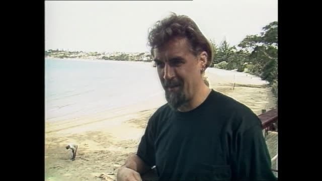 stockvideo's en b-roll-footage met billy connolly speaking about being grateful for being able to earn and travel for his comedy in 1987 during interview with host dylan taite - billy connolly
