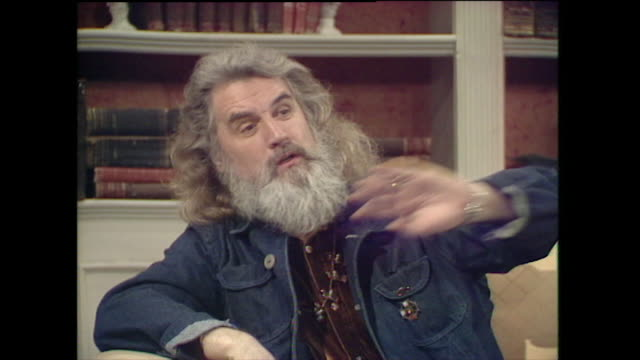 "billy connolly, speaking in 1997, on wanting to stay in acting, music and comedy: ""music is another discipline; i've got that off stage altogether... - billy connolly stock videos & royalty-free footage"