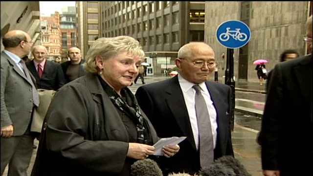 Billy Dunlop 'double jeopardy' trial ENGLAND London Old Bailey Ann Ming and legal team out of court towards press Ann Ming statement to press SOT...