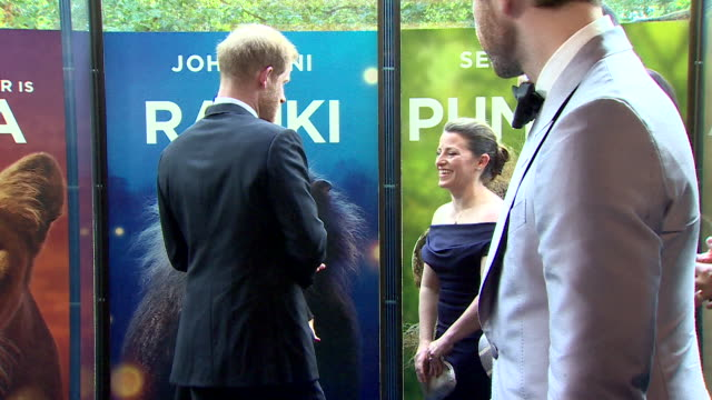vídeos de stock e filmes b-roll de billy eichner timon in the lion king debates how to greet royalty as he waits to meet the duke and duchess of sussex at the premiere in leicester... - meghan markle lion king