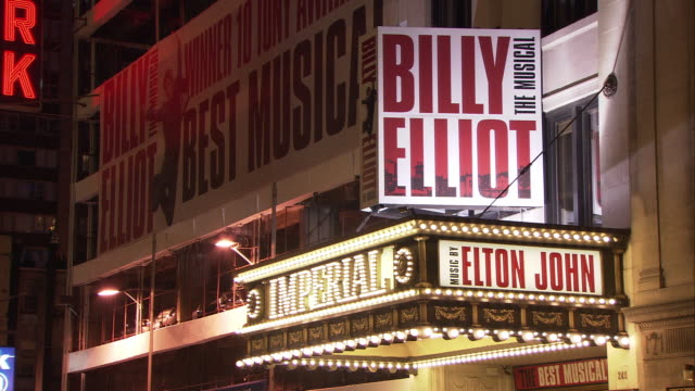ms billy elliot illuminated marquee at imperial theatre, night / manhattan, new york city, new york, usa - broadway manhattan video stock e b–roll
